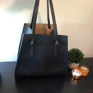 Zara. Large faux leather tote bag.